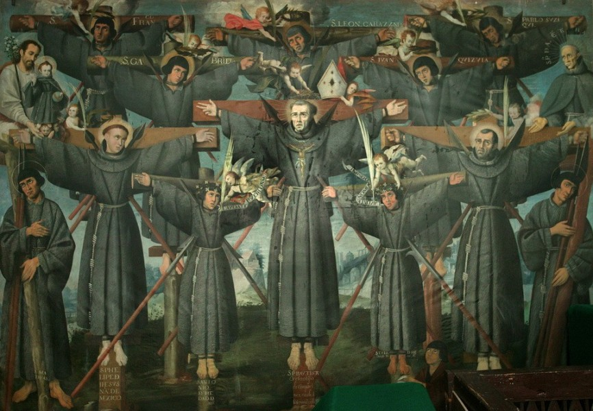 """Cuzco School [Public domain], <a href=""""https://commons.wikimedia.org/wiki/File:Painting_of_the_Nagasaki_Martyrs.jpg""""  target=""""_blank"""">via Wikimedia Commons</a>"""