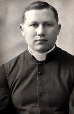 """Blessed Jury Kashyra (April 4, 1904 – February 18, 1943), was a Priest and a Belarusian apostle of the unity between Catholic and Orthodox Christians. He was murdered by the German security forces and their collaborators in Operation Winterzauber, a punitive """"bandit fighting"""" raid, together with his parishioners. Kashyra was beatified by Pope John Paul II in 1999 together with the 108 Martyrs of World War II.   <a href=""""https://commons.wikimedia.org/wiki/File:Kaszyra_240.jpg"""" title=""""via Wikimedia Commons"""" target=""""_blank"""">See page for author</a> [Public domain]"""