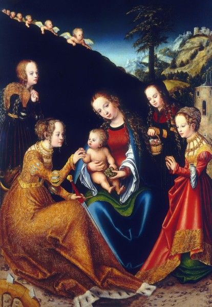 """The Mystic Marriage of Saint Catherine of Alexandria with Saints Dorothy, Margaret and Barbara by Lucas Cranach the Elder  (1472–1553).  <a href=""""https://commons.wikimedia.org/wiki/File:Lucas_Cranach_d.%C3%84._-_Die_mystische_Verm%C3%A4hlung_der_heiligen_Katharina_(Budapest).jpg"""" title=""""via Wikimedia Commons"""" target=""""_blank"""">Lucas Cranach the Elder</a> [Public domain]"""