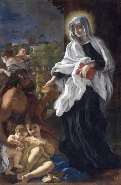 "Saint  Frances of Rome giving alms - Painting by Giovanni Battista Gaulli, 1675   <a href=""https://commons.wikimedia.org/wiki/File:Baciccio-Saint_Francesca_Romana_Giving_Alms.jpg"" target=""_blank"">Giovanni Battista Gaulli</a>, Public domain, via Wikimedia Commons"
