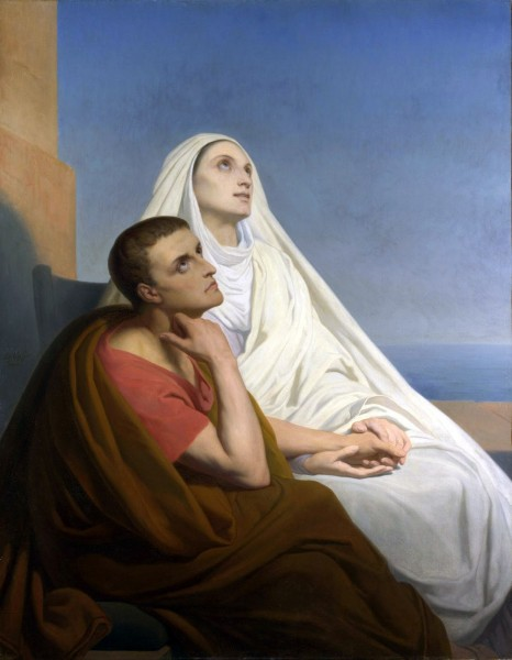 """Painting of Augustine of Hippo and his mother Monica of Hippo by Ary Scheffer 1846  <a href=""""https://commons.wikimedia.org/wiki/File:Saint_Augustine_and_Saint_Monica.jpg"""" target=""""_blank"""">Ary Scheffer</a>, Public domain, via Wikimedia Commons"""