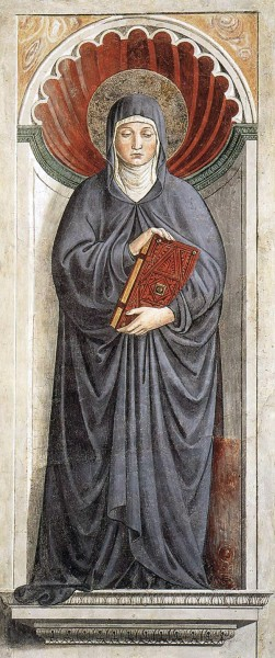"Saint Monica  - by Benozzo Gozzoli, between 1464 and 1465  <a href=""https://commons.wikimedia.org/wiki/File:Monica_of_Hippo_by_Gozzoli.jpg"" target=""_blank"">Benozzo Gozzoli</a>, Public domain, via Wikimedia Commons"