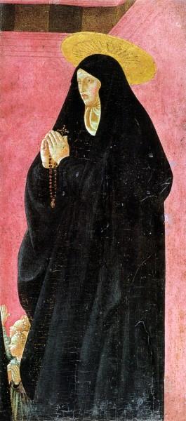 "Santa monica by Paolo Uccello 1430s  <a href=""https://commons.wikimedia.org/wiki/File:Paolo_uccello,_santa_monaca,_01.jpg"" target=""_blank"">Paolo Uccello</a>, Public domain, via Wikimedia Commons"