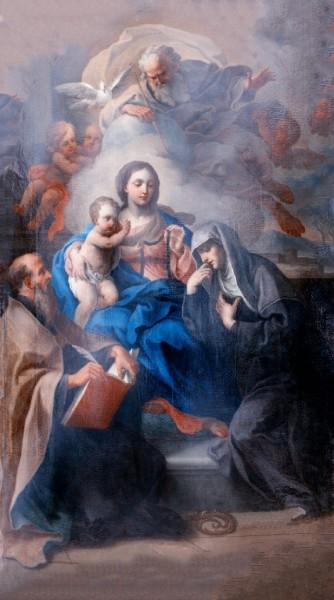 """Dipinto proveniente dalla chiesa di Sant'Antonio abate in Gaeta.  <a href=""""https://commons.wikimedia.org/wiki/File:Sebastiano_Conca,_Madonna_della_Cintura_con_Ges%C3%B9_Bambino,_Dio_Padre,_sant%27Agostino_e_santa_Monica_(1750).jpg"""" target=""""_blank"""">Sebastiano Conca</a>, Public domain, via Wikimedia Commons"""